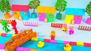 How To Make 3 House next the River with Kinetic Sand, Slime, Flower Tree, Pj masks Toys