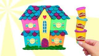 4 Colors Play Doh House. How to Make Rainbow House. Easy Crafts for Kids