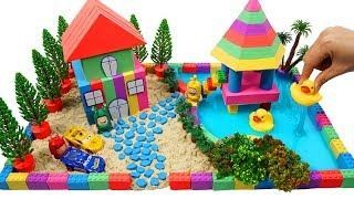 How To Make Garden Villa House with Kinetic Sand, Mad Mattr, Slime, Model Tree, Cars Toys