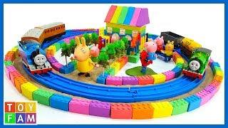 Peppa Pig Toys and How To Make Rail Around the House with Kinetic Sand, Mad Mattr | ToyFAM