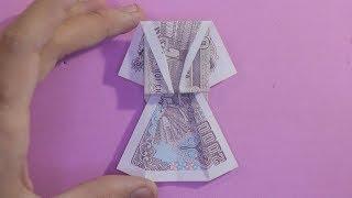 Origami money | hướng dẫn cách xếp cái đầm bằng tiền giấy | how to make origami dress money tutorial