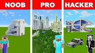 Minecraft NOOB vs PRO vs HACKER: FUTURISTIC HOUSE BUILD CHALLENGE in Minecraft / Funny Animation