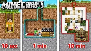 10 MINUTE vs. 1 MINUTE vs. 10 SECOND SECRET HOUSE! (The Pals Minecraft)