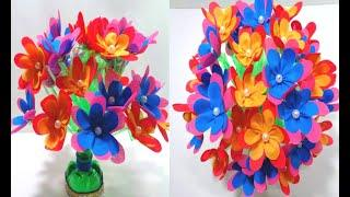 How to Make Plastic Bottle Flower Vase & Shopping Bag Flower - Best Reuse of Plastic Bottle