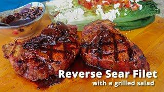 Reverse Sear Filet | Grilled Filet Steak with Grilled Salad on PK Grill