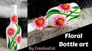 Bottle art/bottle vase/Best out of waste/art and craft/wine bottle craft