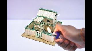 How to Make Match House and Amazing Fire Domino   Match Stick House   Matchstick art and Craft
