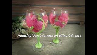 Painting Fun Flowers on Wine Glasses | Painting Flowers on Glass | Tutorial | Aressa | 2018