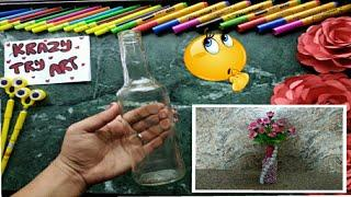 DIY wine bottle decoration ideas Making flower vase from wine bottle  Home decoration ideas.