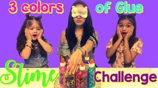 3 Colors of Glue Slime Challenge with our Mom Part 2