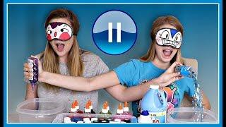 Pause Slime Challenge BLINDFOLDED || Taylor and Vanessa