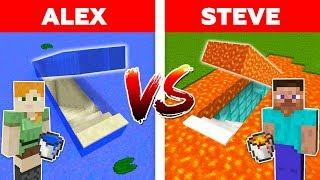 MINECRAFT - ALEX vs STEVE! UNDERLAVA SECRET BASE vs UNDERWATER EASY HOUSE / Minecraft Animation #2