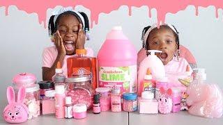 WE MADE SLIME WITH ONLY PINK INGREDIENTS AND THIS HAPPENED....