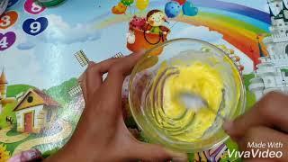 របៀបធ្វើស្លែមពណ៌លឿង/How to make slime color yellow