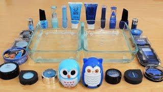 Mixing Makeup Eyeshadow Into Slime! Light Blue vs Dark Blue Special Series 50 Satisfying Slime Video