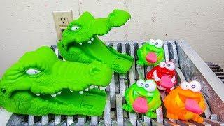 Crocodiles Eat Baby Frogs! Animal Toys Destroyed! What's Inside Squishy Water bath Toys Slime Toys?