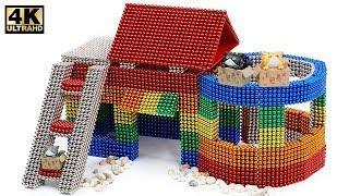 DIY - How To Build Amazing Kitten Cat Pet House from Magnetic Balls (ASMR)   Magnet World 4K