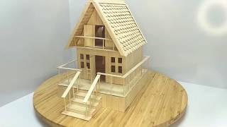 How to make a small house using Popsicle sticks.
