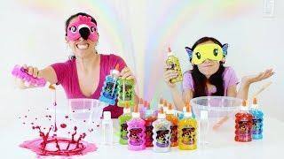 DESAFIO DO SLIME COM 3 CORES E OLHOS VENDADOS!!! ★ Brincando com Mamãe (3 Colors of Glue Challenge)