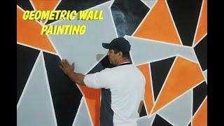 Painting a diy geometric wall design | Easy paint method