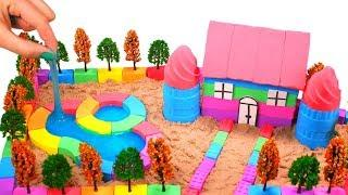 DIY How To Make Rainbow House With Pool With Kinetic Sand And Slime