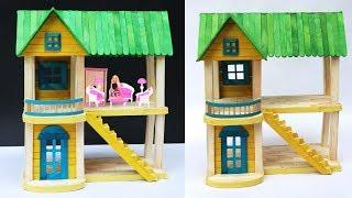 DIY Dollhouse out of ice cream sticks || Miniature barbie house