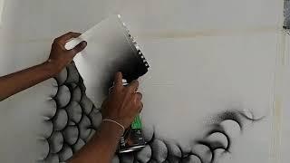 Wall Painting Black Spray || Creative Fish Drawing interior