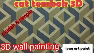 Cat tembok 3D- tutorial cat 3D- 3D wall painting-wall art painting