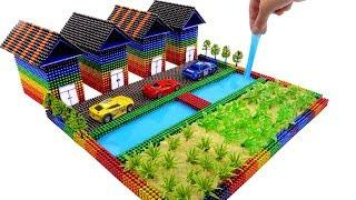 DIY How To Make Garden House Villa with Magnetic Balls, Car Toy, Model Tree
