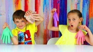 SLIME GLOVES CHALLENGE ПЕРЧАТКИ СЛАЙМ ЧЕЛЛЕНДЖ, KIDS VIDEOS, making slime with gloves mystery box