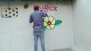 Wedding wall flower painting, विवाह में पेंटिंग करें