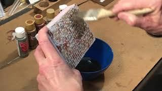 Painting model railroad stone walls