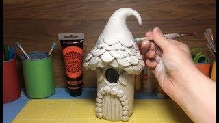 How To Make a Paper Clay Fantasy Elf House, toadstool, Fairy Mushroom House