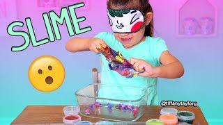 Blindfolded Slime Challenge!!! Making Slime Blindfolded Tiffany Taylor