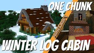 Minecraft: How to Make a Winter Log Cabin in ONE CHUNK (2018) with Avomance Minecraft House Tutorial
