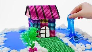 DIY - How To Make House in The Middle of The River with Magnetic Balls, Slime (ASMR)