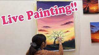 夕日の沈む丘withアクリル [ライブペイントイベントにて]  / How to paint the sunset house with acrylic