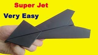 How to make a super jet paper plane that flies far easy | Cool Origami fighter step by step