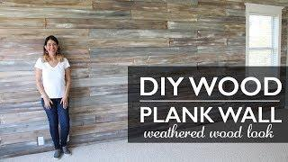 DIY Wood Plank Wall painted with Chalk Paint® Weathered Wood look