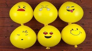Making Fluffy Slime with Emoji Funny Balloons - How to Make Fluffy Slime