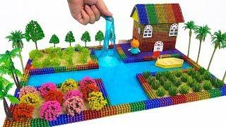 ASMR - DIY How To Make Rainbow House with Magnetic Balls, Learn Colors With Magnetic Ball & Slime