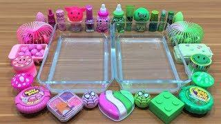Mixing Makeup and Floam Into Clear Slime ! Pink VS Green Special Series Part 4 Satisfying Slime