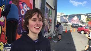 Dunedin pupils add their street art to city wall