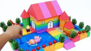DIY How To Make Garden House with Kinetic Sand, Mad Mattr, Slime, Straws, Animals, Peppa Pig Toys