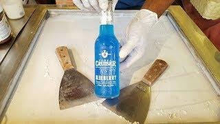 Vodka Cruiser Very Blueberry Ice Cream Rolls | How to Make Blue Wine ice Cream Recipe - ASMR Food
