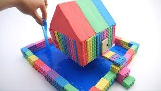 How To Make Kinetic Sand Glitter Slime Floating House and Learn Colors Creation for Children