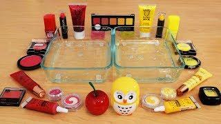 Mixing Makeup Eyeshadow Into Slime ! Red vs Yellow Special Series Part 24 Satisfying Slime Video
