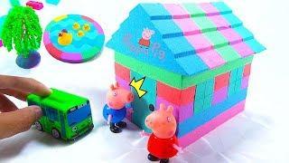 How To Make Mad Mattr Rainbow House W Peppa Pig Fun Toys Videos For Kids - BoBo Kinetic Sand