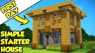 Minecraft Simple Survival Starter House Tutorial (How to Build)
