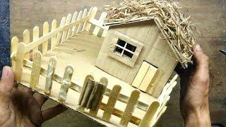 Craft with icecream Sticks: How to make DIY Cardboard House hut craft easy